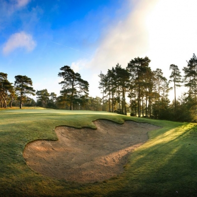 The 17th greenside bunker at Blackmoor Golf Club.