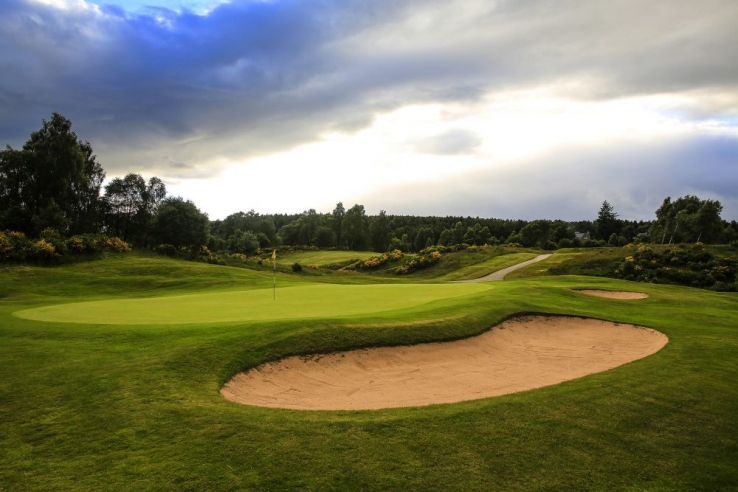 The 16th green at Boat of Garten Golf Club.