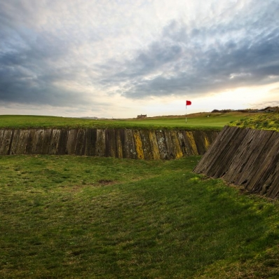 The sleepers play a large part of the iconic bunkers at Royal West Norfolk Golf Club as seen here.