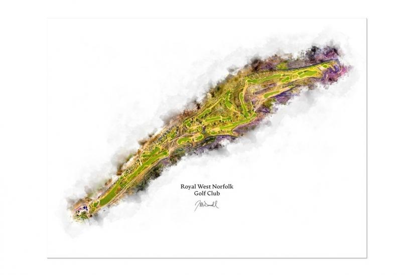 Modern golf art by Joe Mcdonnell of Brancaster.