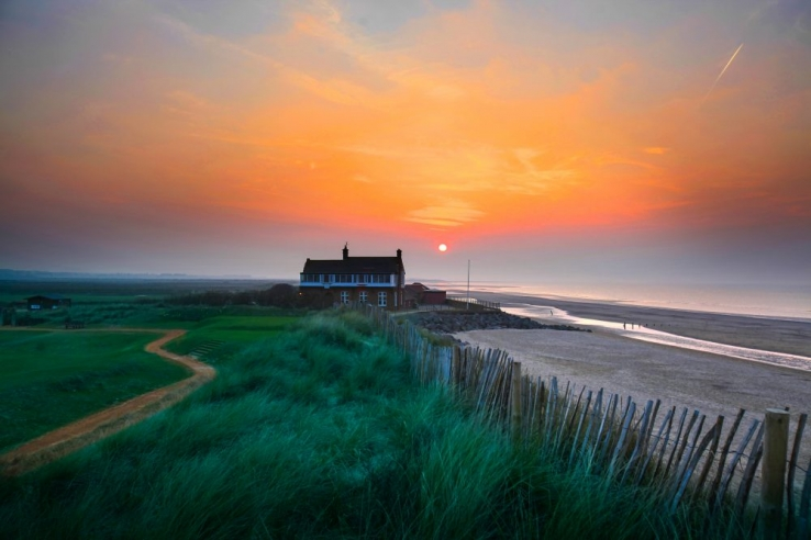 The beach house serves as a clubhouse at Royal West Norfolk Golf Club.