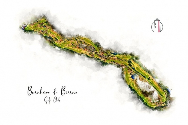 Watercolour course map of Burnham Berrow Golf Club.