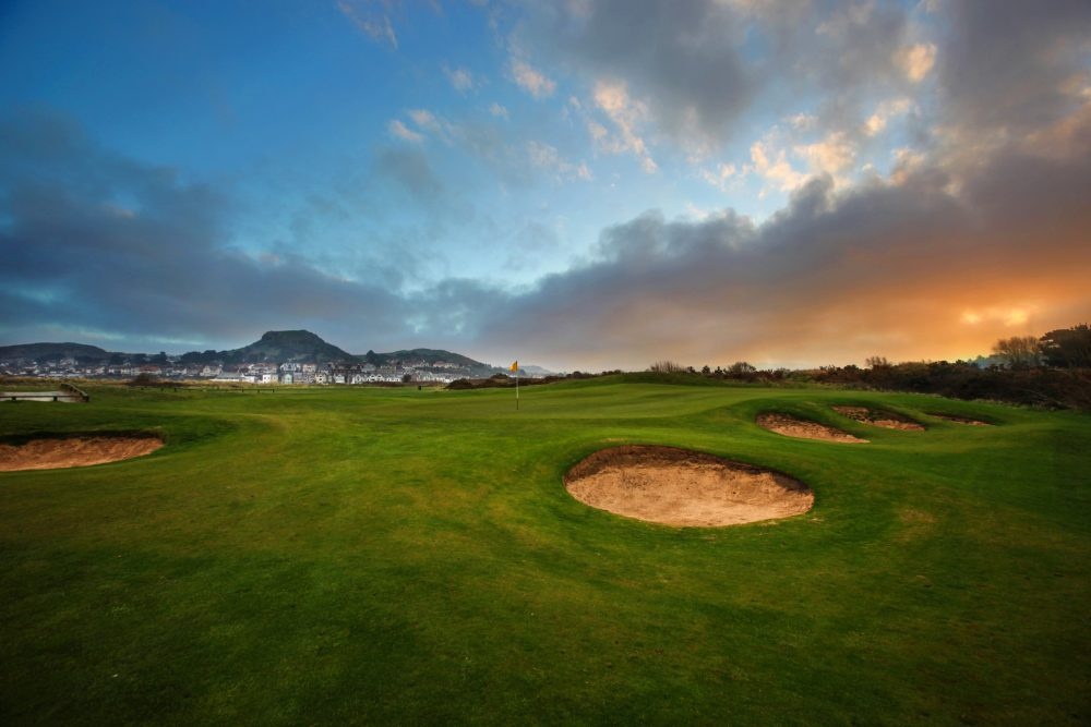 Pot bunkers at Conwy Golf Club in North Wales