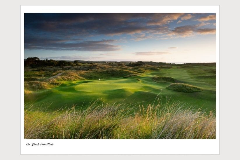A photograph of Kevin Markham by the 14th green at County Louth Golf Club.