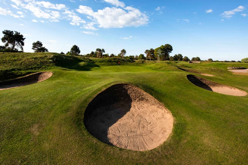 A formidable pot bunkers shown at Nairn Dunbar.
