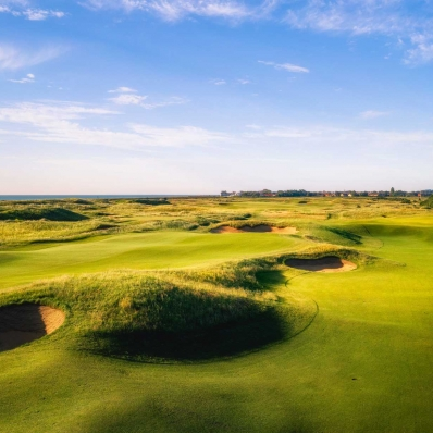 A photo of the lumps and bumps of the Royal Cinque Ports Golf Club.