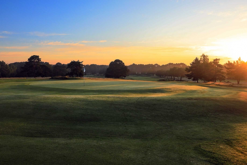 Sunset shown on the 6th hole at Ferndown Golf Club Old Course.