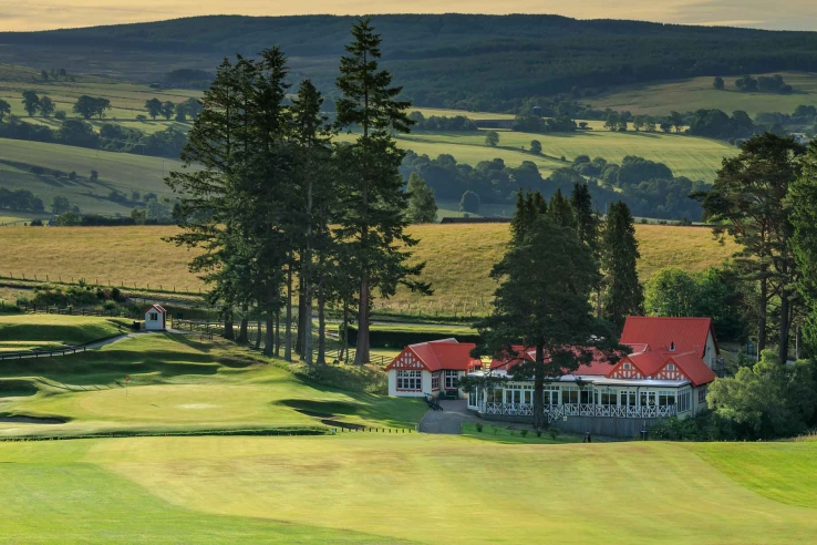 The trademark red roof of the Pitlochry Golf Club.