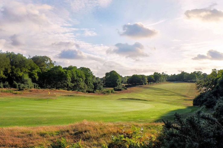 The 11th hole at Woodbridge Golf Club. Part of the Suffolk Travel Guide.