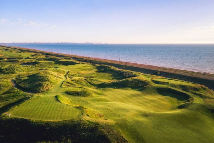 A photo of the links at Deal protected by the sea wall.