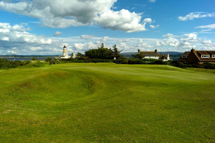The lighthouse in the background at Fortrose & Rosemarkie Golf Club.