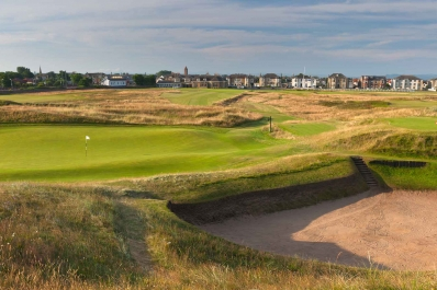 The massive Sahara bunker at Prestwick Golf Club.