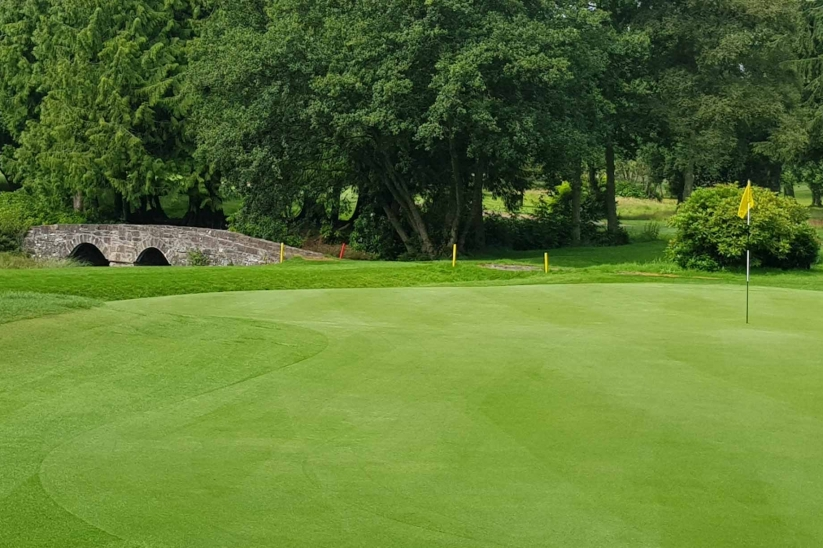 The subtle undulations on a green at Downfield Golf Club.