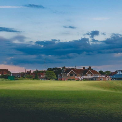A photo of the clubhouse at Littlestone Golf Club.