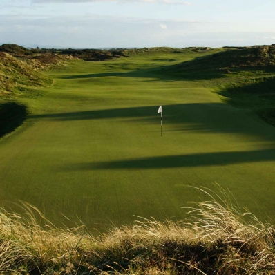 A photo down the fairway at Silloth on Solway GC.
