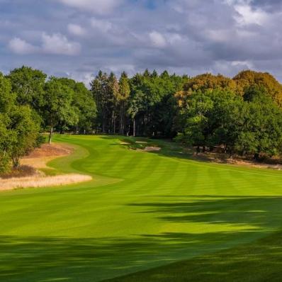 The striped fairways at Royal Norwich Golf Club.