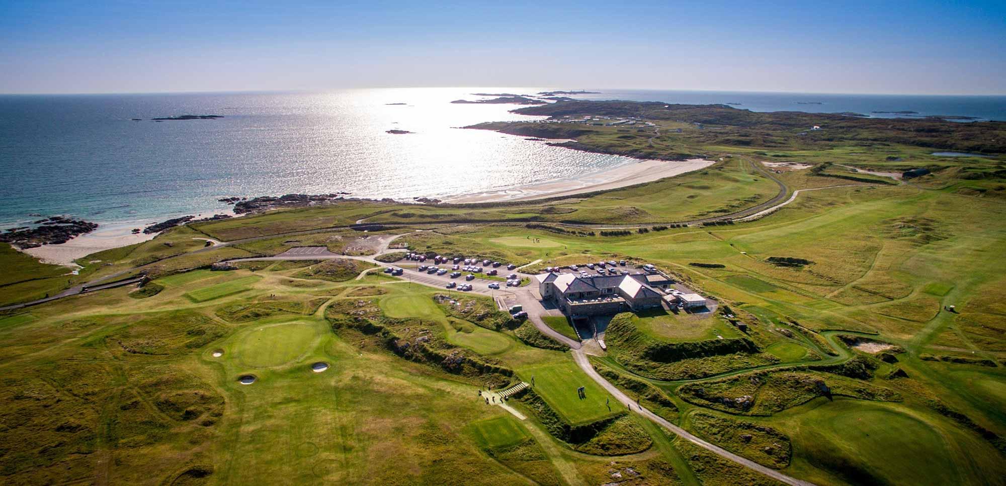 Connemara Championship Golf Links with views of the WIld Atlantic Way.