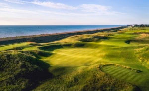 The famous 3rd green punchbowl at Royal Cinque Ports Golf Club.