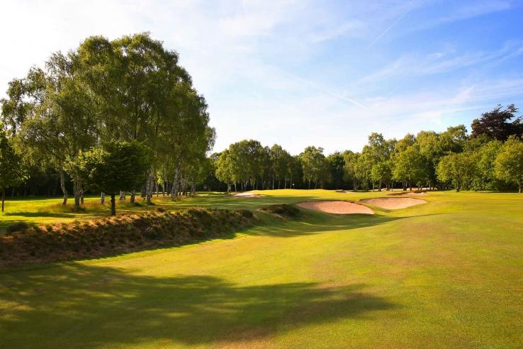 A cross bunker at Little Aston Golf Club.