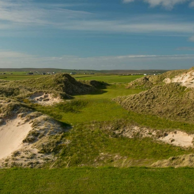 The open sand scrapes on the Kilmore Nine at Carne Golf Links.