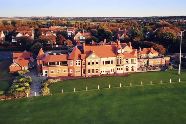 An aerial view of the clubhouse at Royal Liverpool Golf Club near Liverpool, England.