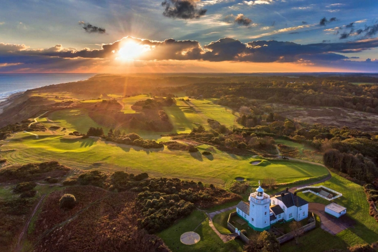 Sunset over the links at Royal Cromer Golf Club in Norfolk.