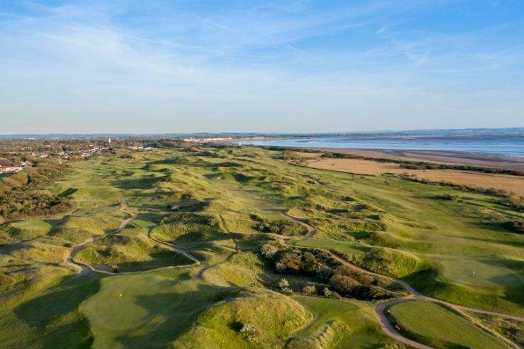 An aerial view from a drone of the Championship Links.