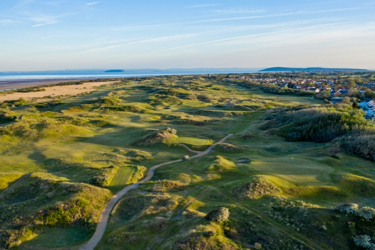 An aerial view of Burnham & Berrow Golf Club Championship Links.