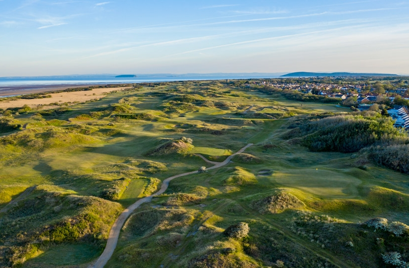 An aerial view of Burnham & Berrow Golf Club Championship Links.