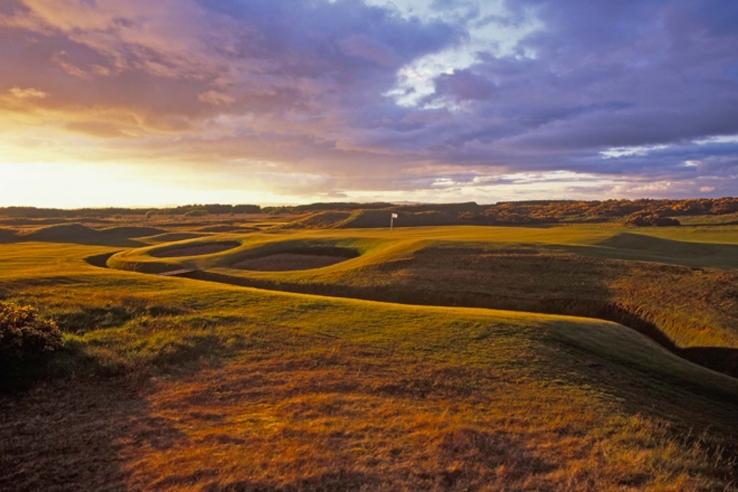 Dundonald Links at sunset on the Ayrshire coast.