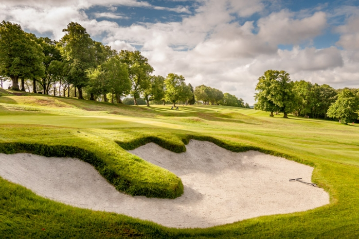 The restored Harry Colt bunkers at Edgbaston Golf Club.