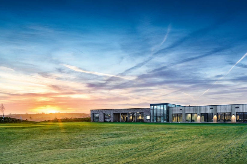 The modern clubhouse at the JCB Golf & Country Club.