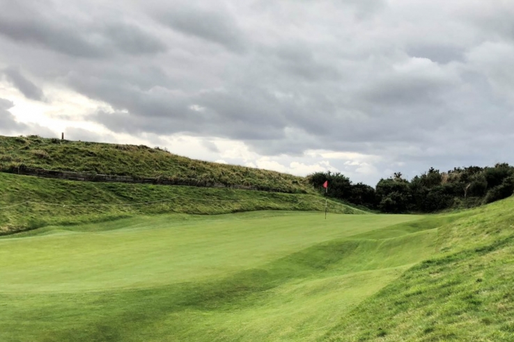 A photo of a unique green at The clubhouse at Gullane Golf Club No. 1 golf course.