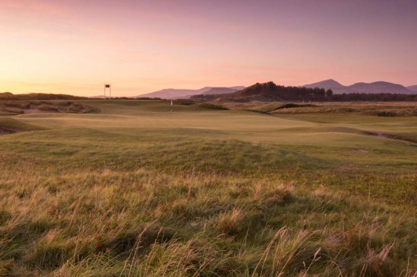Sunset at Royal St Davids golf course at Harlech, Wales.