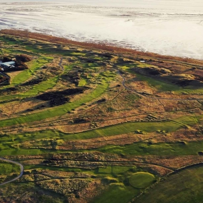Drone footage of the A course routing map of Royal Liverpool Golf Club Hoylake, an Open Venue Host.