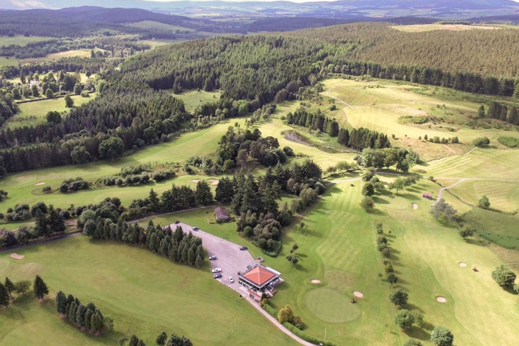An aerial view of the Aboyne Golf Club.