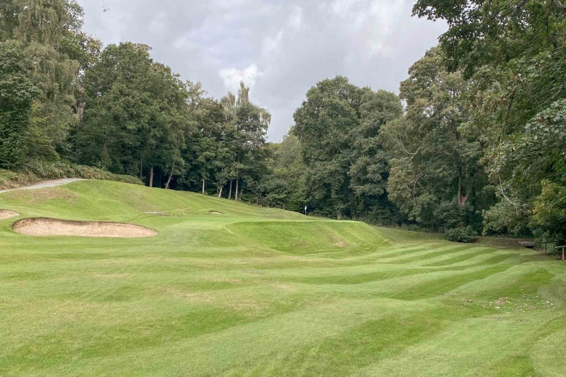 The brilliant short hole from Harry Colt at Denham Golf Club.