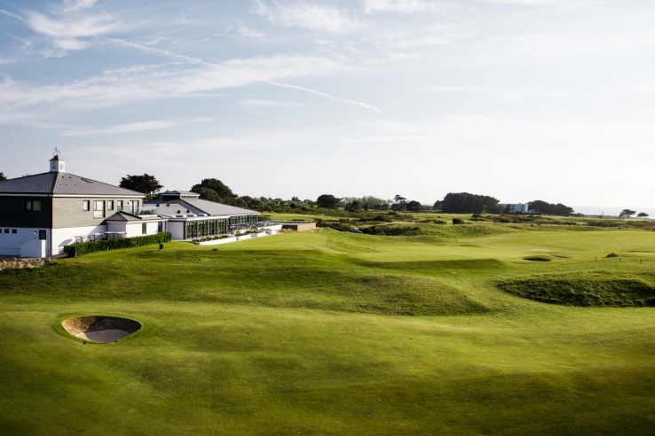The recently refurbished clubhouse at La Moye Golf Club on the Isle of Jersey.