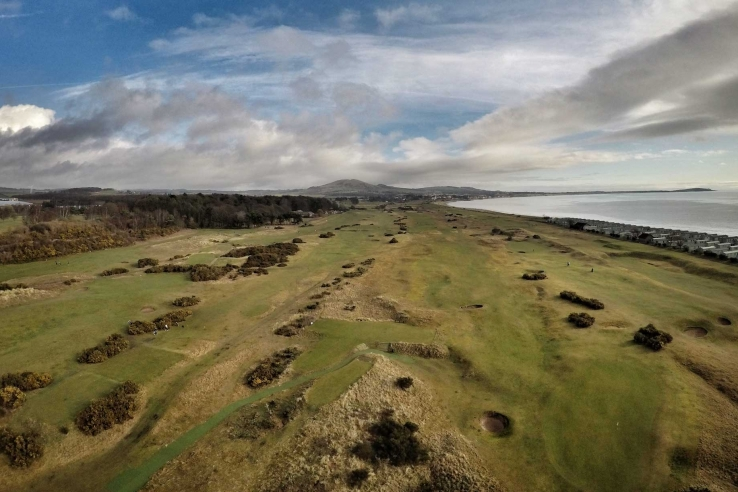 An aerial view of Leven Links.
