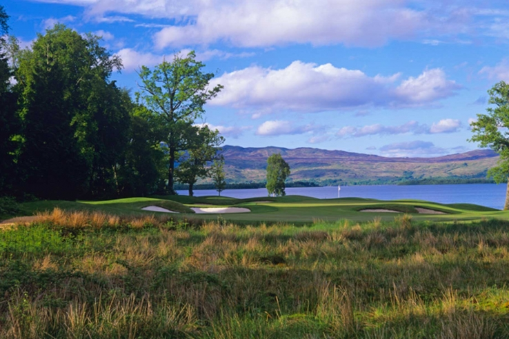 The loch is the perfect background at Lomond Golf Course.