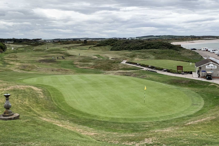 A green on the links land beside the North Sea at Moray Golf Club.