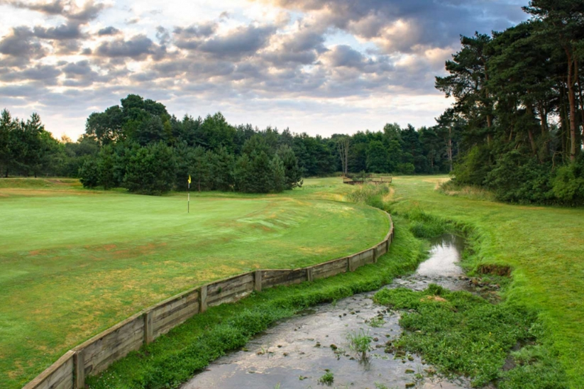 A greensite with burn at Northamptonshire County Golf Club.
