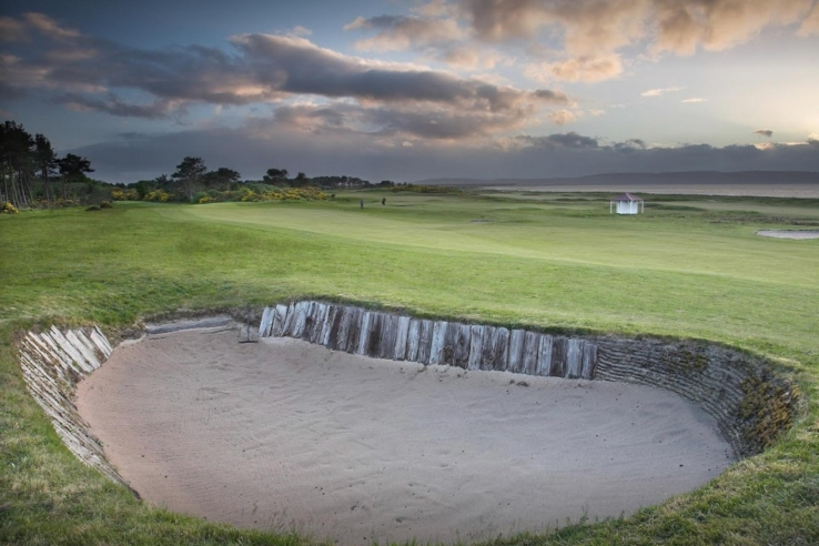 The sleeper lined bunker at Nairn Golf Club.
