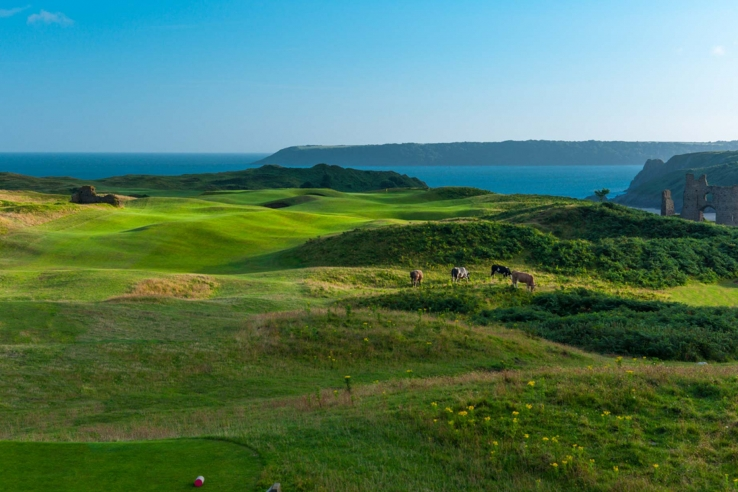 The view from the Links in the Sky at Pennard Golf Club.