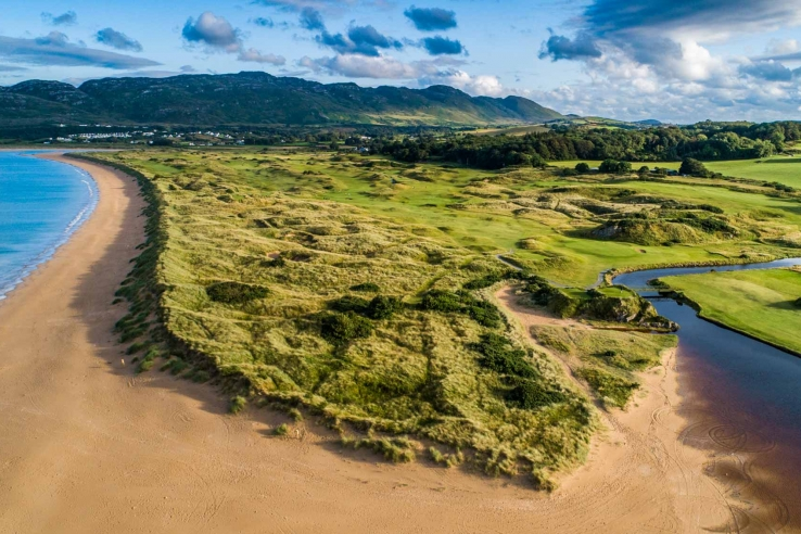A drone photo of the headland of the links at Portsalon Golf Club in Ireland.