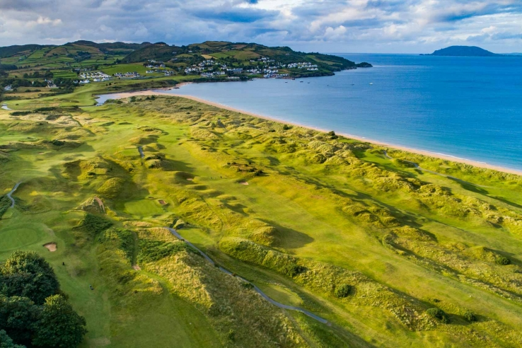 A drone photo of the links at Portsalon Golf Club in Ireland.