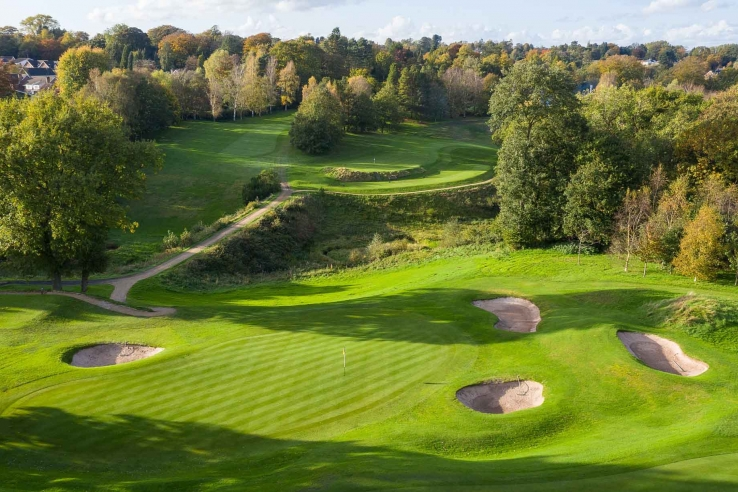 The Harry Colt bunkering at Prestbury Golf Club.