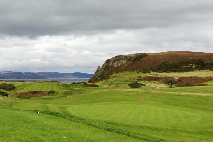 Heather clad hills at Shiskine Golf Club.