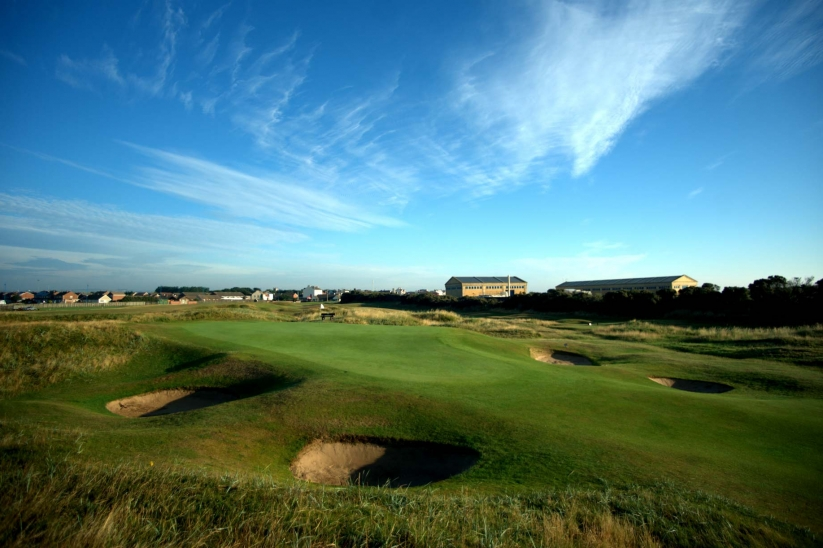 A green complex with revetted pot bunkers at Seaton Carew Golf Club.