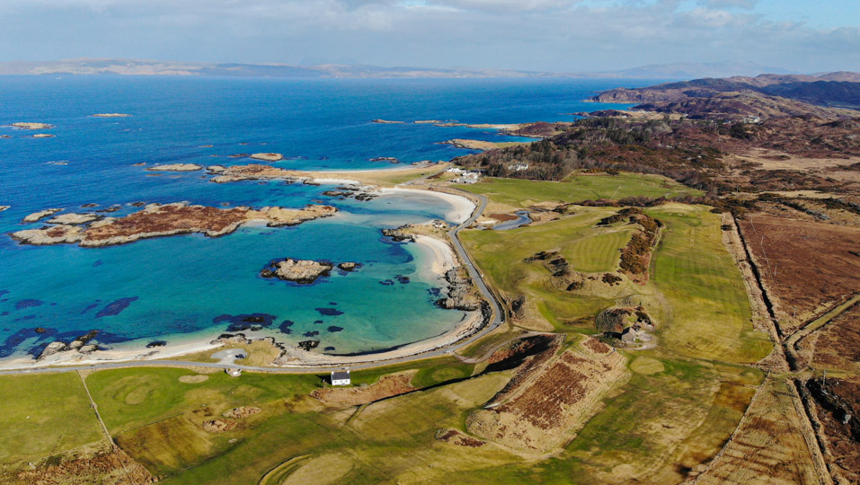 A drone capture of Traigh Golf Course.
